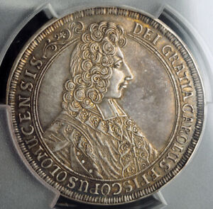1705-Olmutz-Charles-III-of-Lorraine-Beautiful-Silver-Thaler-Coin-PCGS-AU-55