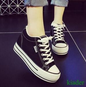 Womens-Girl-Lace-Up-Canvas-Platform-Hidden-Heels-Creeper-Platform-Sneakers-Shoes