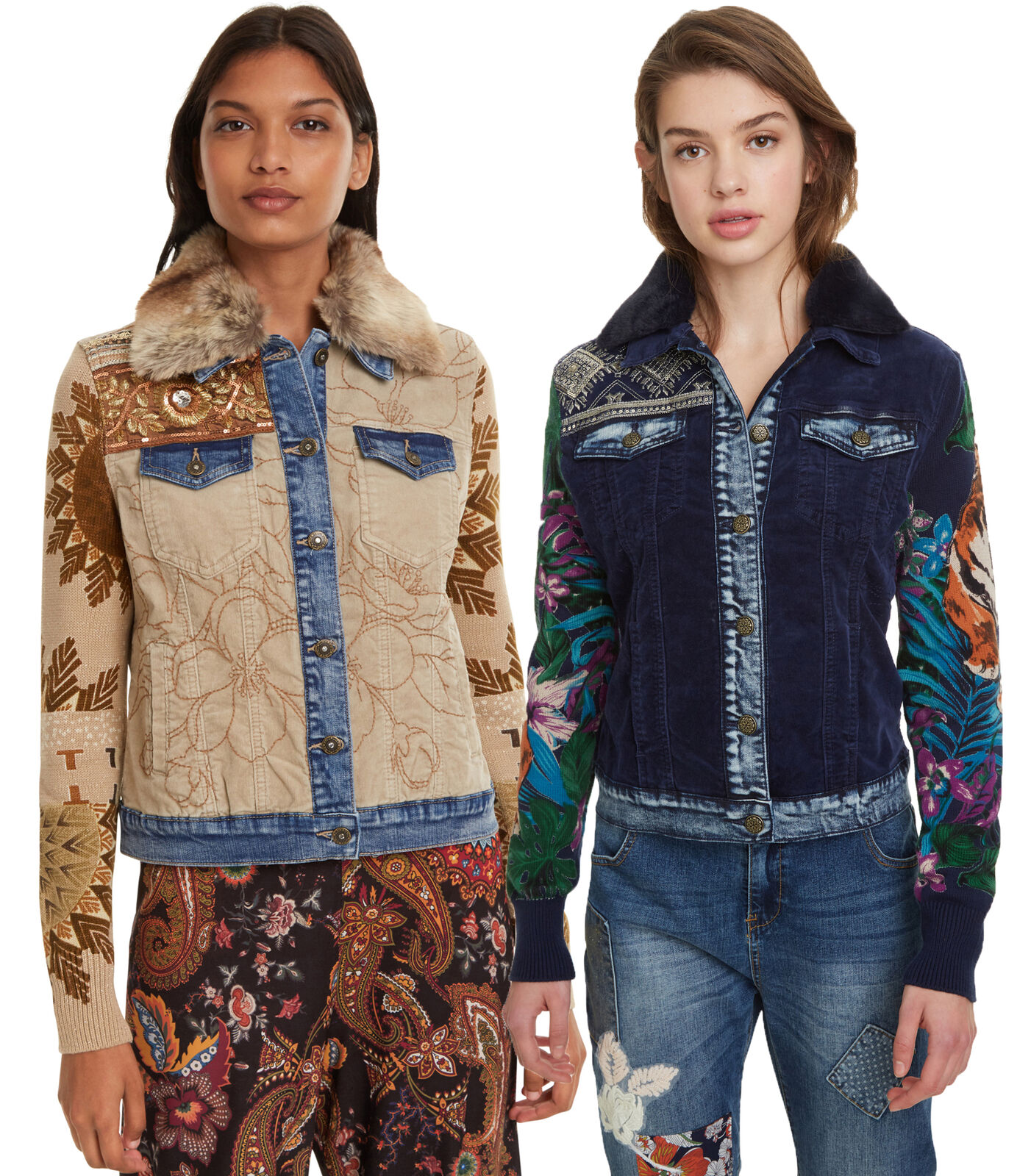 Desigual White Kenya Denim Jacket Bright Crochet Sleeves 36-46 UK 8-18 RRP ?129
