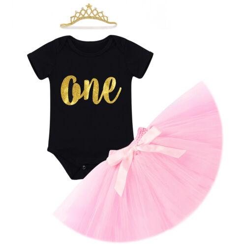 Baby Girls 1st Birthday Tutu Dress Cake Smash Outfits Romper+Skirt+Headband Set