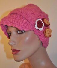 NWT Chaos Womens/teen Dark Pink Knit Crochet flower Hat Visor Beanie Free Ship