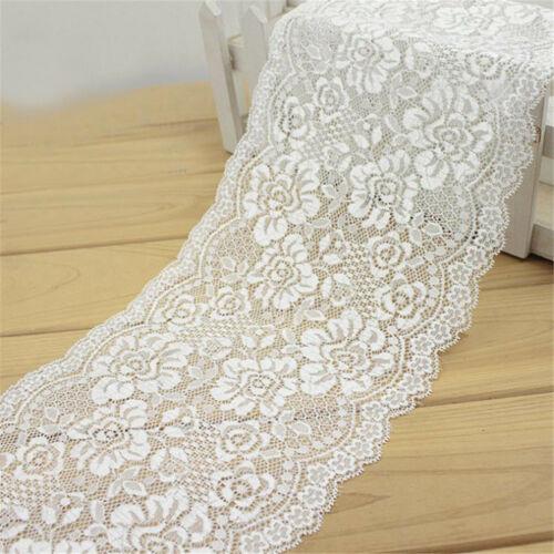 1M Elastische Spitze Trim Band Stoff DIY Handwerk Hochzeit Kleid Nähen