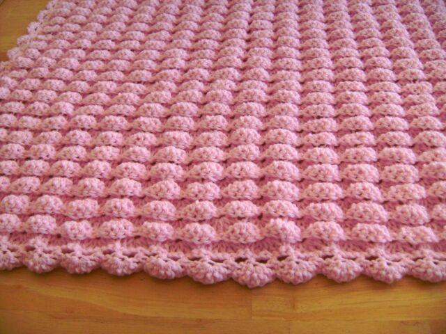 CROCHET PINK BABY BLANKET THROW LAP AFGHAN GIRL SHELL PATTERN SHOWER Inspiration Crochet Baby Blanket Shell Pattern