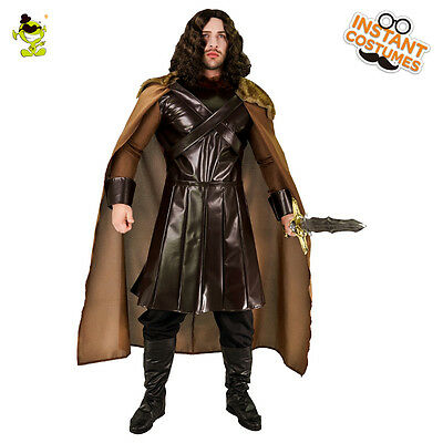 Deluxe Medieval North King Brown Cloak Costume Adult Men's Halloween King Outfit