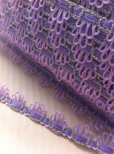 Lavender Purple /& Silver Sparkle Braid Trim 15mm By The Meter