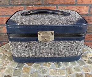 Vintage Travel Case Blue Overnight Train Bag Makeup Mirror Suitcase No Key VTG