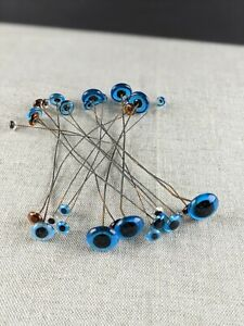 Lot-15-Pairs-Antique-Glass-Doll-Eyes-on-Wire-Bear-Taxidermy-Decoy