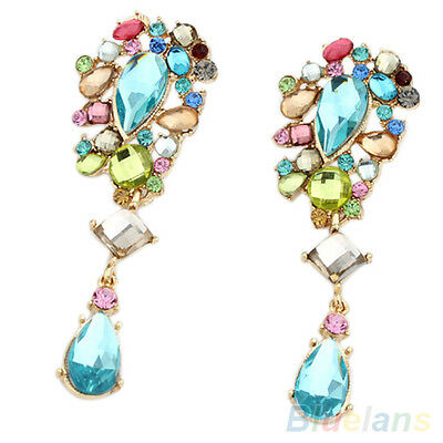 Womens Iridescent Crystal Dangle Earrings Rhinestone Blue Stone Ear Studs Beauty