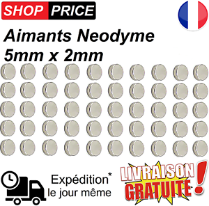 Lot-50-Aimants-Frigo-Neodyme-Neodium-Rond-Fort-Strong-Magnet-5-mm-x-2-mm-NEUF