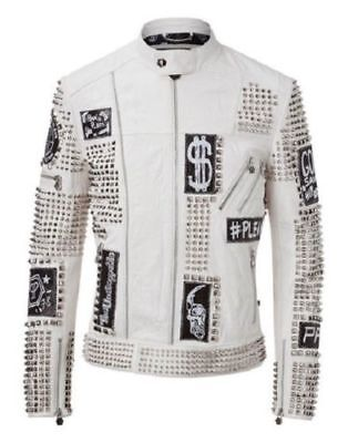 Studded Rock Punk Men Leather Jacket Motorbike Style Jacket Embroidery Patches