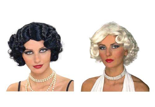 Femelle Adulte Vintage Hollywood noir ou blond perruque accessoire robe fantaisie