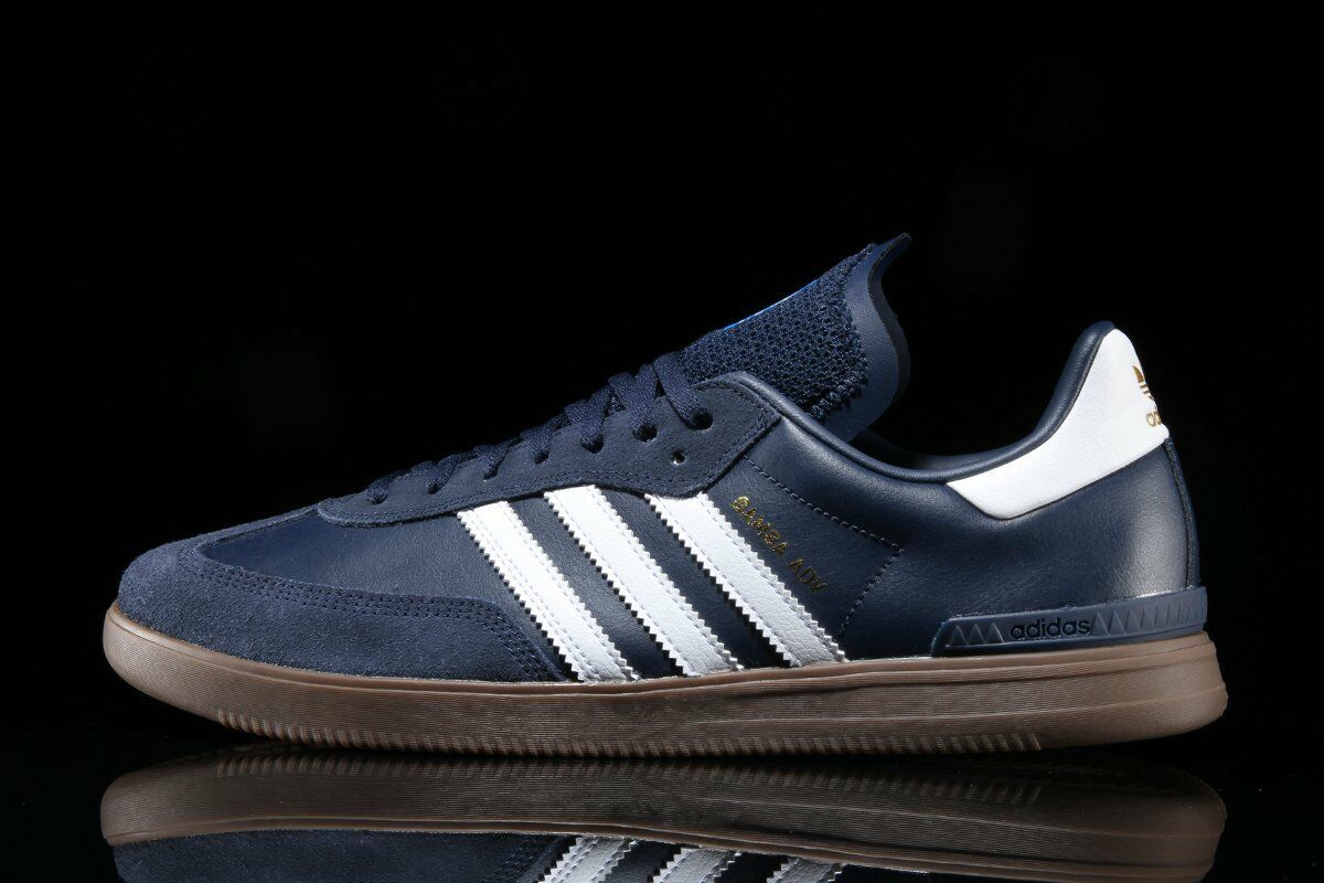 Adidas Samba  Mens 9.5  Navy bluee Leather   Suede NEW ADV Hamburg spezial trimm