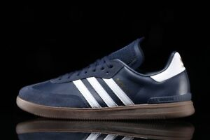 new products b2fc6 e9915 Image is loading Adidas-Samba-Mens-8-Navy-Blue-Leather-Suede-