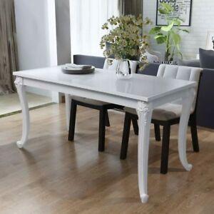 Tavolo Pranzo Bianco.Dettagli Su Tavolo Da Pranzo Bianco Bianco Lucido 120x70x76 Cm