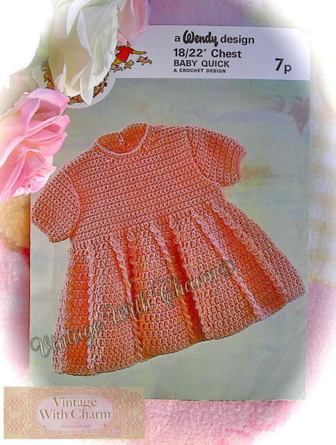 aafe02c47 Baby Girls Dress Crochet Pattern 1970s to Fit 18-22 Inch Chest. for ...