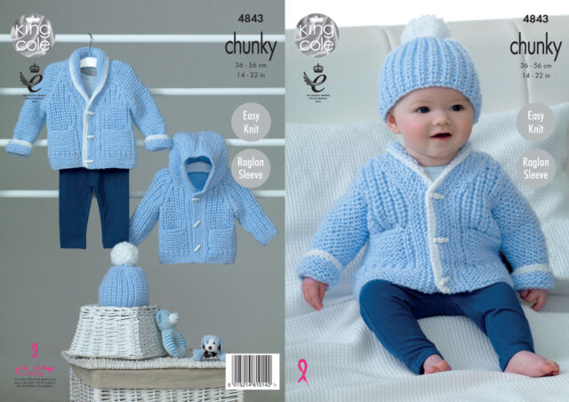 Baby Knitting Pattern Easy Knit Hoodie Hat Jacket Chunky King Cole