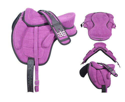 Treeless Freemax Fully Suede Horse Saddle Full Purple With Girth