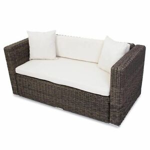 2er gartensofa polyrattan grau garten poly rattan zweisitzer outdoor terrasse ebay. Black Bedroom Furniture Sets. Home Design Ideas
