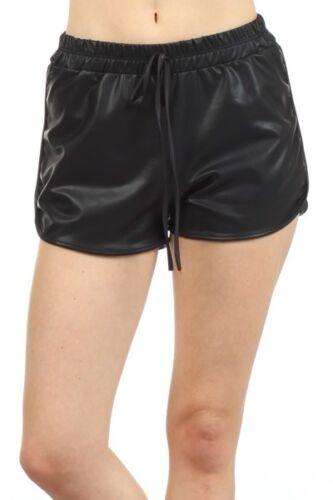 Jogger Pants Usa Faux Grigio Bottom Short Bianco New Hot Tasche Nero Leather Mini Bq8wqv7p