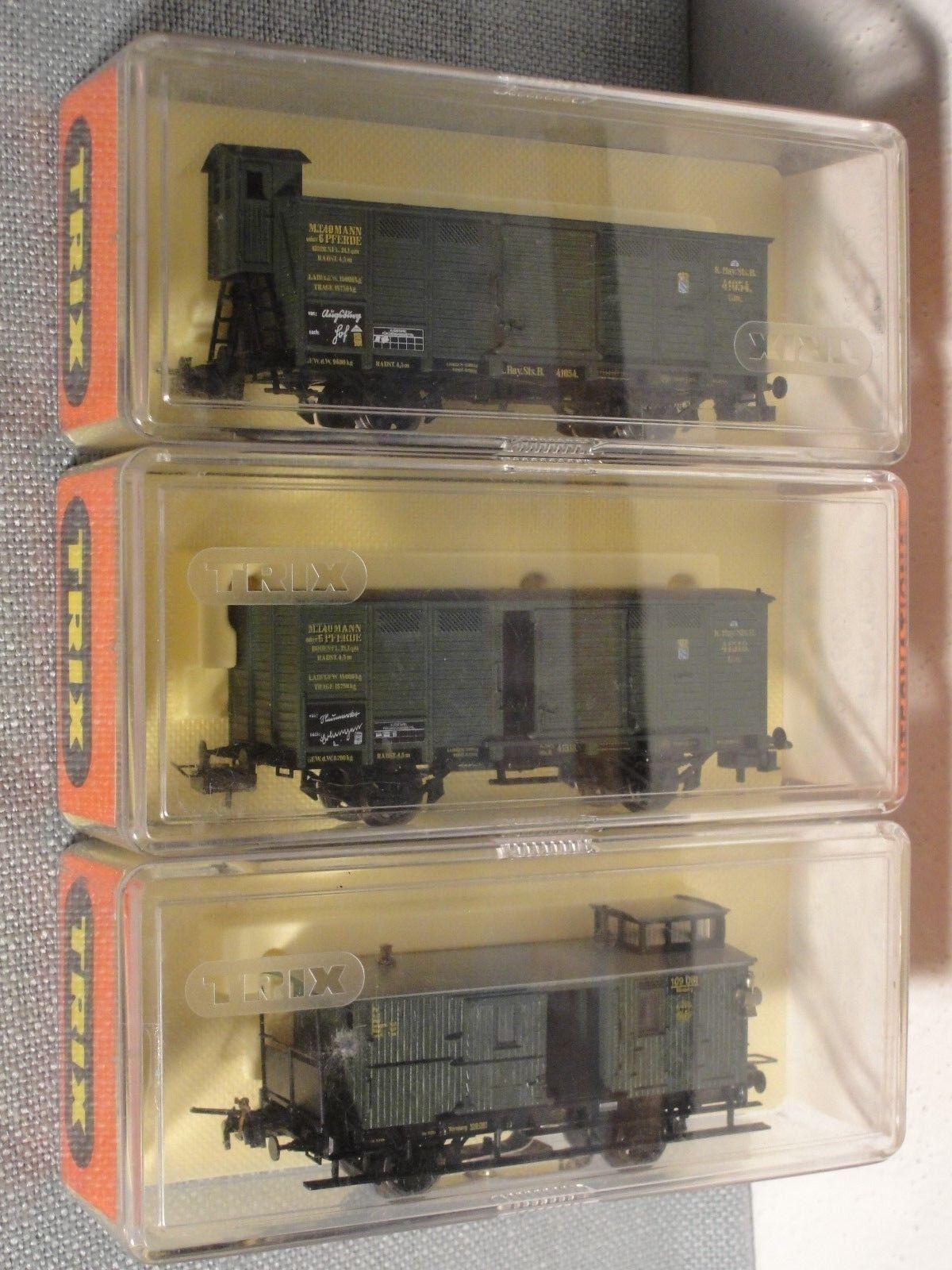 3 Trix HO Serie 52 Waggons, jeweils 2-a, verde, TOP neuwertig OK