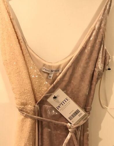 Next Peach velluto schiacciato 16-8-20 senza maniche Wrap Party Dress RRP £ 65 vendita *