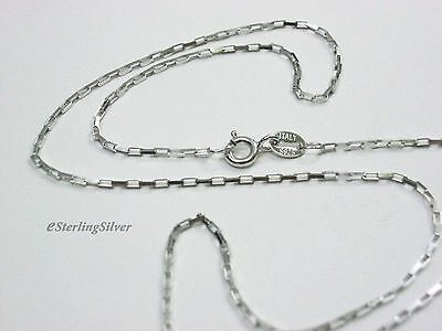 """925 Sterling Silver Box Chain / Necklace - 15.5"""" Inches, 1.1mm width, 1.5 grams"""