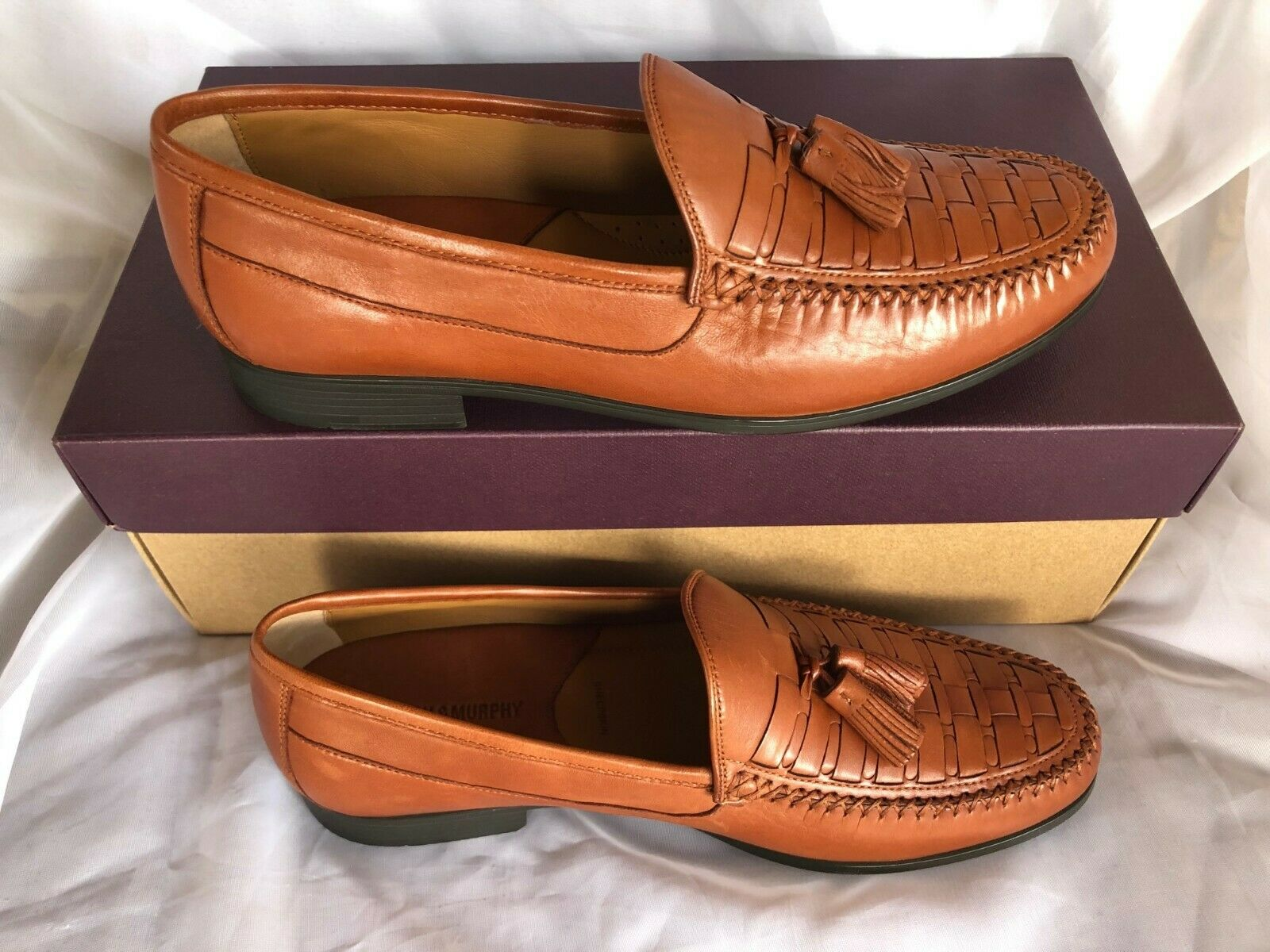 New Men's Johnston & Murphy Cresswell Woven Tassel Loafer Leather Cognac 11M 12M