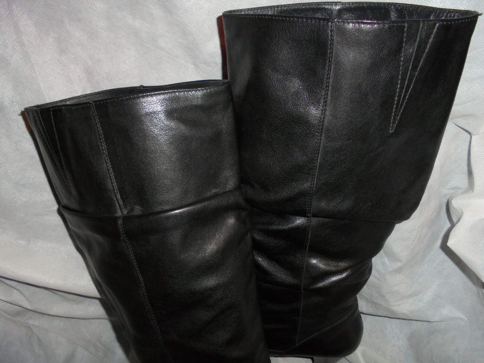 PAUL GREEN WOMEN'S BLACK LEATHER PULL KNEE ON KNEE PULL HIGH  BOOT  SIZE UK 5 EU 38  VGC 893d15