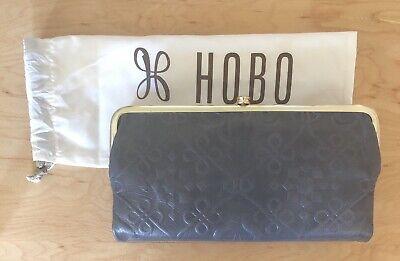 Nwt Women/'s Hobo Leather Double Frame Clutch Wallet Lauren Embossed Black