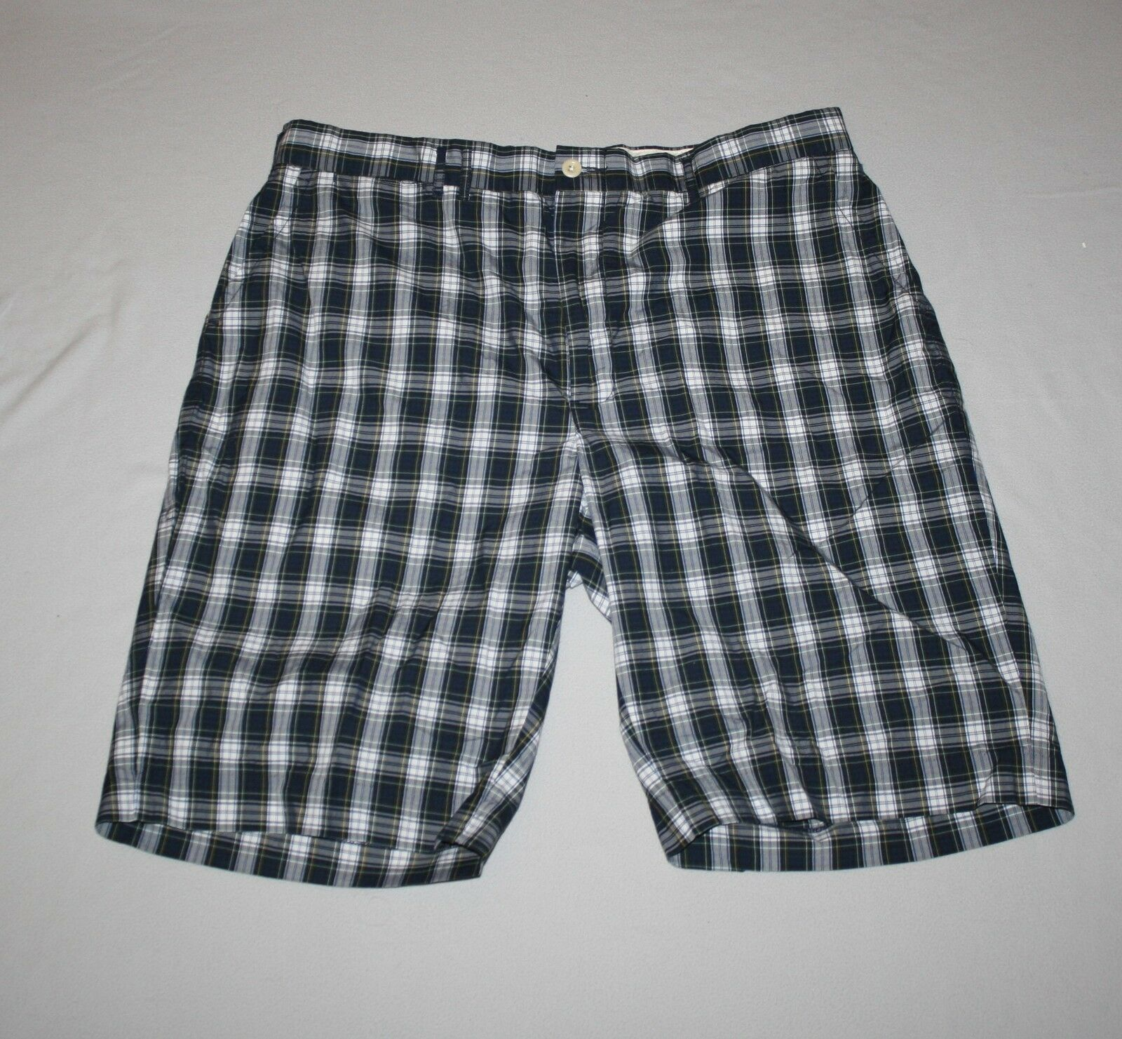 Men Ralph Lauren Polo Navy bluee Plaid Bermuda Shorts Size 36