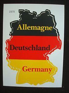 Details Zu Aufkleber Deutschland Umriß Schwarz Rot Gold Allemagne Germany 125 X 95 Cm