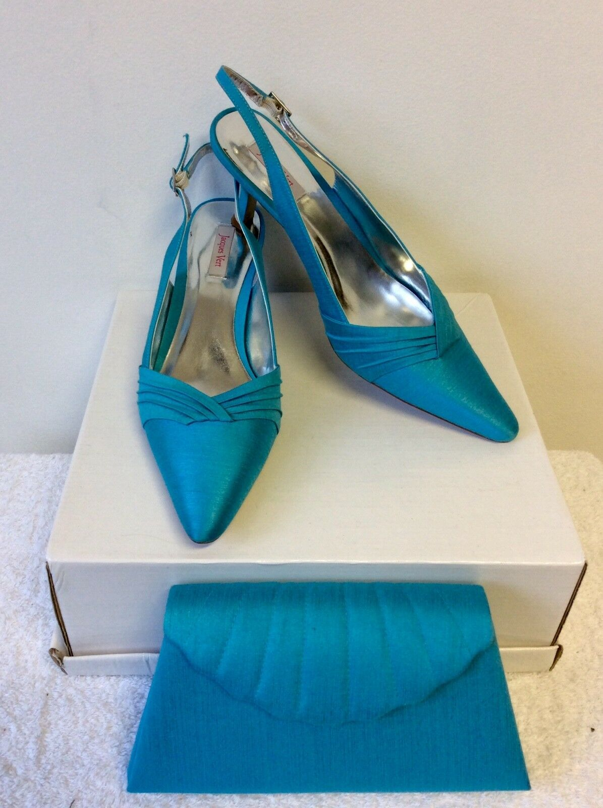 JACQUES HEELS VERT TURQOUISE SATIN SLINGBACK HEELS JACQUES SIZE 7.5/41 & MATCHING  BAG 1c6bf9
