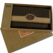 FOSSIL Leder Geldbörse MADDOX EMB 24 CLUTCH Geldbeutel Damen Portemonnaie Ash