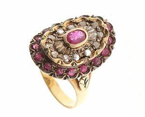 più recente c285f a280d Details about Anello in stile antico oro 18 kt 750 mill. Rubino naturale e  diamanti