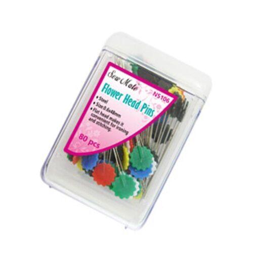 Flower Head Pins or Flat Head Pins Steel 48mm Pack 80pcs Iron Safe