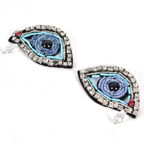 1Pair Rhinestone eye Beaded Patch for Clothing Sewing on Beading Applique PMA