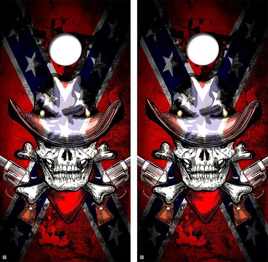 Cowboy Skull Cornhole Board Decal Wrap FREE SQUEEGEE   good quality