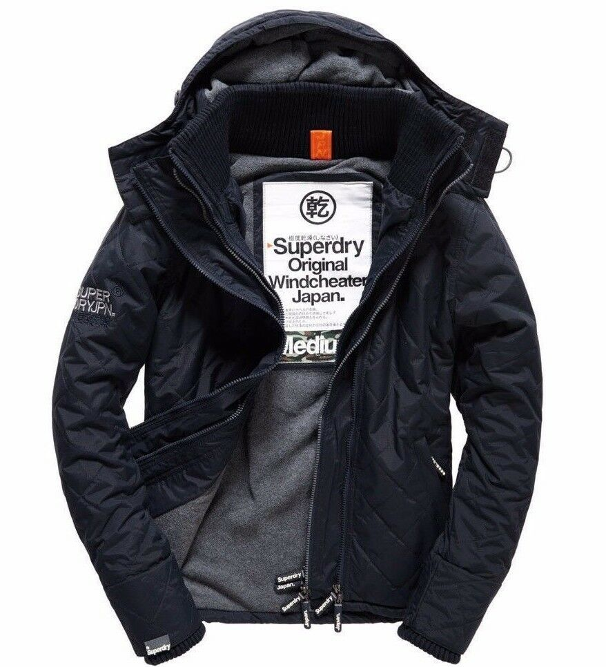 BNWT Mens Superdry Quilted Hooded Polar Windcheater French Navy, Medium, RRP