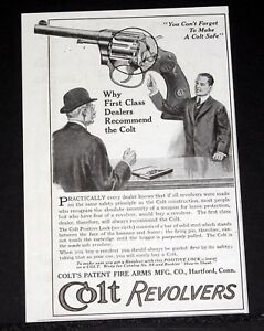 Details about 1914 OLD MAGAZINE PRINT AD, COLT REVOLVERS, FIRST CLASS  DEALERS RECOMMEND COLT!