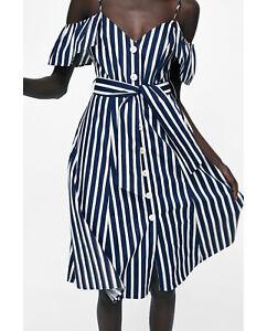 Detalles de Nuevo con Etiqueta Zara Azul Marino Blanco Rayas Mono Vestido a Media Pierna