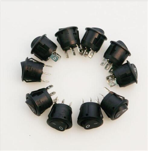 5Pcs Mini Runde 3 Pin SPDT ON-OFF Wippschalter Snap-in schwarz-x X sg