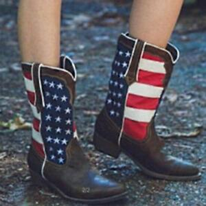 Hot-Women-Punk-Cowboy-Cuban-Mid-Calf-PU-Leather-American-Flag-Short-Boots-Shoes