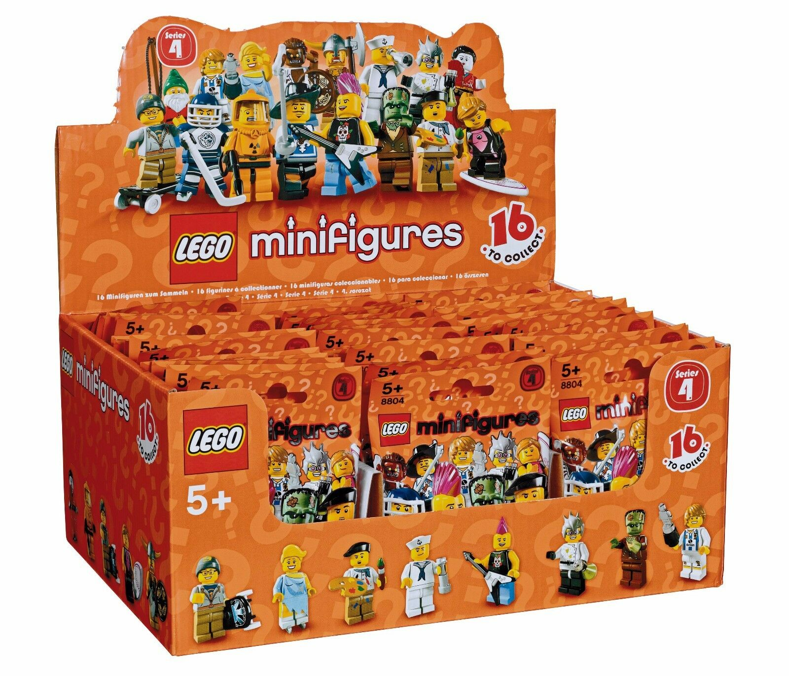 Nuovo Factory Sealed LEGO 8804 Box/Case of 60 Minifigures Series 4