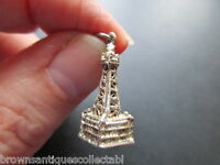 VINTAGE SILVER CHARM ENGLISH STERLING BLACKPOOL TOWER BRACELET FOB PENDANT OLD