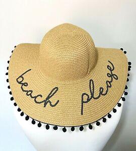 9276f672b9c99 Floppy Summer Holiday Straw Beach Please Sun Hat Beige Wide Brim ...