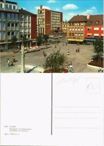 Ansichtskarte-Dueren-Marktplatz-mit-Mariensaeule-und-Blick-zum-Rathaus-1975