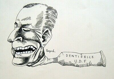 Art Search For Flights Drawing Original Signed Bayard Ink Jean Lecanuet Toothpaste Udf Crapouillot