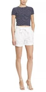 0899e0904 Image is loading Polo-Ralph-Lauren-Pleated-High-Rise-White-Shorts-
