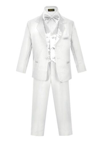 Boys Slim Fit Tuxedo suit 5pc set coat,Satin vest,striated pant,shirt,bow tie