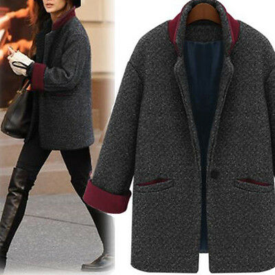 Womens Winter Parka Woolen Coat Boyfriend Style Oversized Overcoat Outerwear